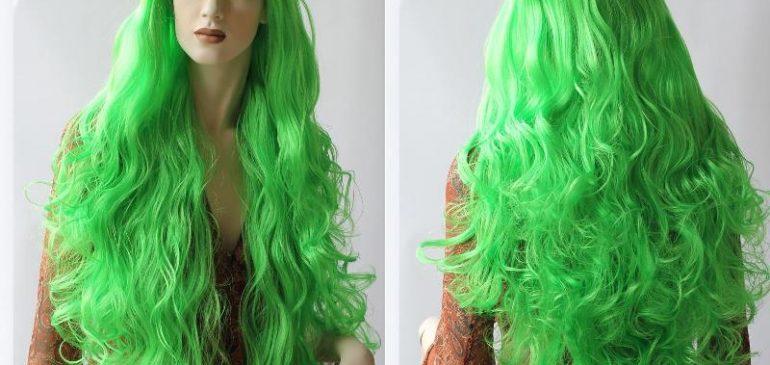 Длинный парик Зеленый