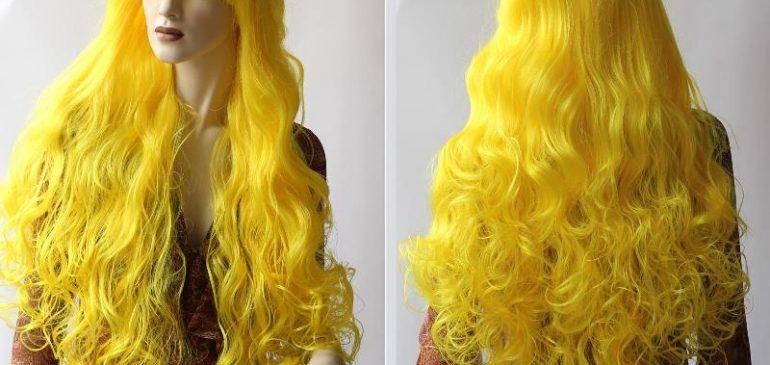длинный роскошный желтый парик
