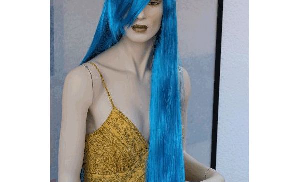 Светло-синий длинный парик