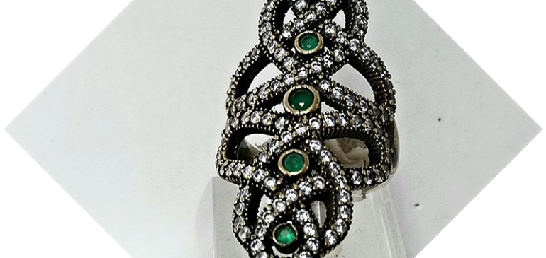 Green Five Silver Ring