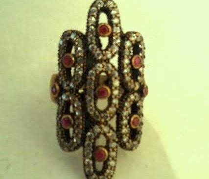 Silver Ring, gemstones coated