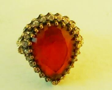 Silver Ring with Red Gem